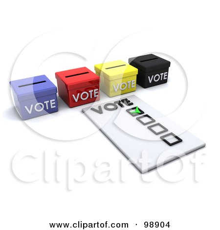 Royalty-Free (RF) Clipart Illustration of a 3d Voters Ballot By Boxes by KJ Pargeter