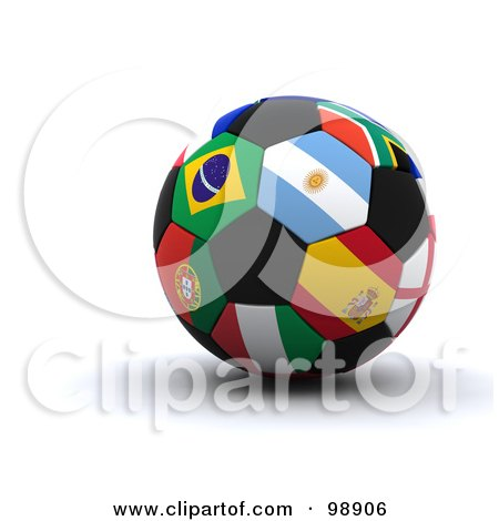Royalty-Free (RF) Clipart Illustration of a 3d World Cup Soccer Ball With International Flags by KJ Pargeter