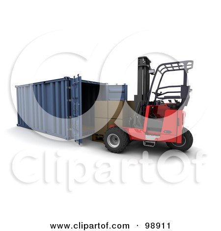 Royalty-Free (RF) Clipart Illustration of a 3d Forklift Loading Boxes Into A Cargo Container by KJ Pargeter