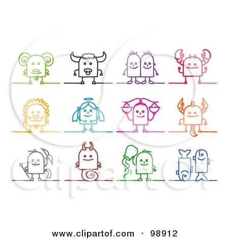 Royalty-Free (RF) Clipart Illustration of a Digital Collage Of Colorful Zodiac Astrology Symbols by NL shop