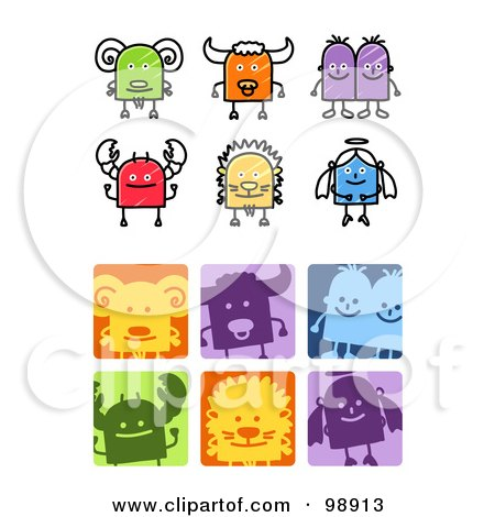 Royalty-Free (RF) Clipart Illustration of a Digital Collage Of Sketched And Square Aries, Taurus, Gemini, Cancer, Leo, And Virgo Zodiac Icons by NL shop