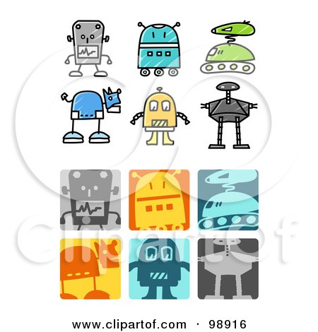 Royalty-Free (RF) Clipart Illustration of a Digital Collage Of Robot Icons by NL shop
