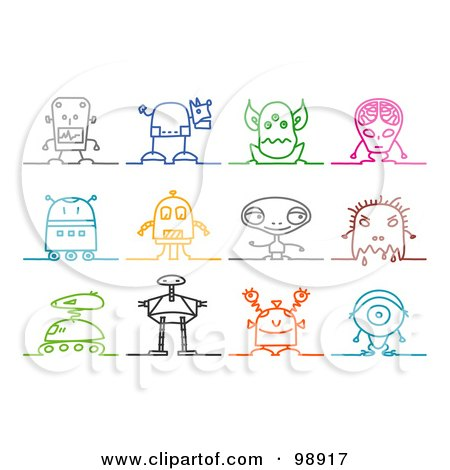 Royalty-Free (RF) Clipart Illustration of a Digital Collage Of Colorful Sketched Robot And Alien Icons by NL shop