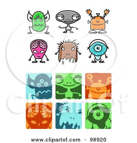 Royalty-Free (RF) Clipart Illustration of a Digital Collage Of Alien Icon Elements by NL shop