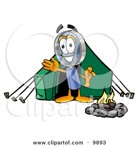 Magnifying Glass Mascot Cartoon Character Camping With a Tent and Fire Posters, Art Prints