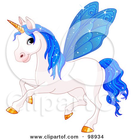 Royalty-Free (RF) Clipart Illustration of a Magical Fairy Unicorn Horse With Blue Wings by Pushkin