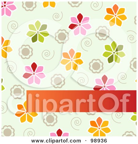 Royalty-Free (RF) Clipart Illustration of a Spring Floral Background With Swirls And Flowers Over A Blank Text Bar by Pushkin