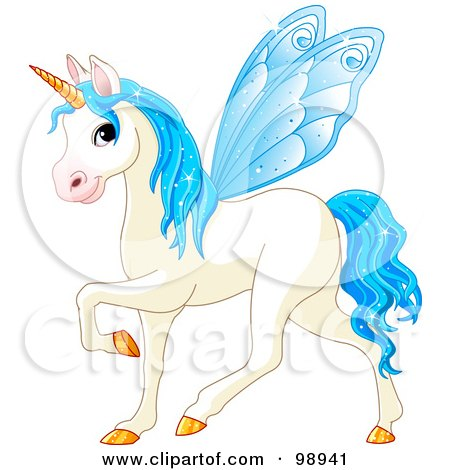 Royalty-Free (RF) Clipart Illustration of a Magical Fairy Unicorn Horse With Light Blue Wings by Pushkin
