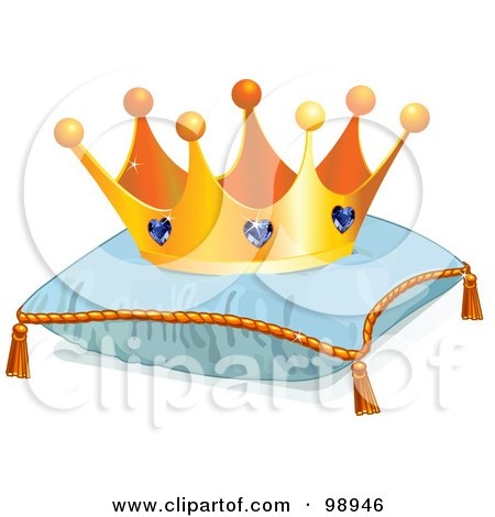 Royalty-Free (RF) Clipart Illustration of a Jeweled Crown On A Blue Pillow by Pushkin
