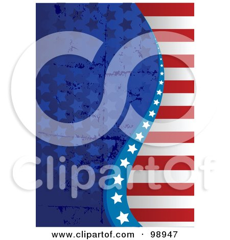 Royalty-Free (RF) Clipart Illustration of a Grungy Patriotic American Background Of Stars And Stripes by Pushkin
