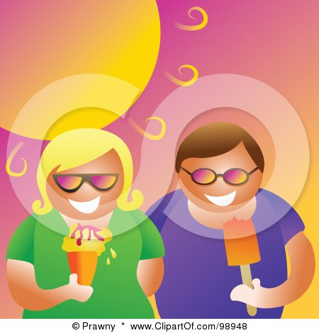 Royalty-Free (RF) Clipart Illustration of a Couple Eating Ice Cream Under A Hot Summer Sun by Prawny