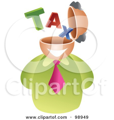 Royalty-Free (RF) Clipart Illustration of a Businessman With A Tax Brain by Prawny