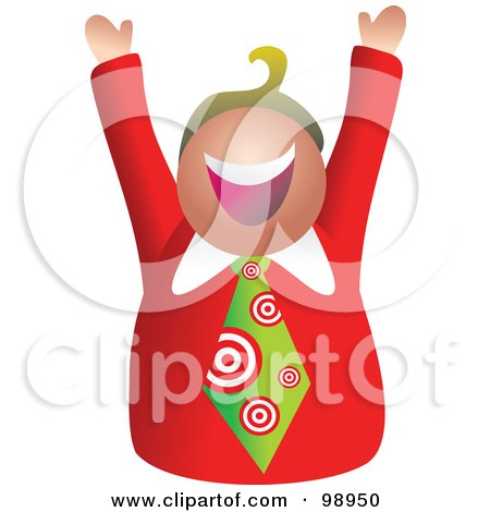 Royalty-Free (RF) Clipart Illustration of a Businessman Wearing A Target Tie by Prawny