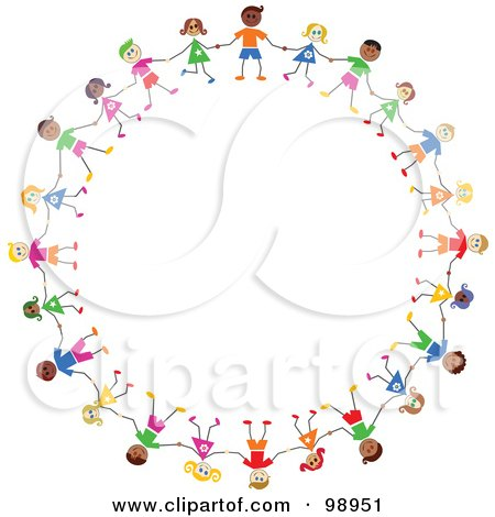 Royalty-Free (RF) Clipart Illustration of a Circle Of Diverse Stick Children by Prawny