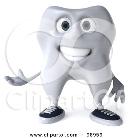 Royalty-Free (RF) Clipart Illustration of a 3d Dental Tooth Character Gesturing - 2 by Julos
