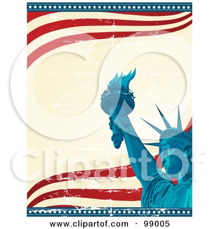 Royalty-Free (RF) Clipart Illustration of a Statue Of Liberty Background With Star Edges And Waves by Pushkin