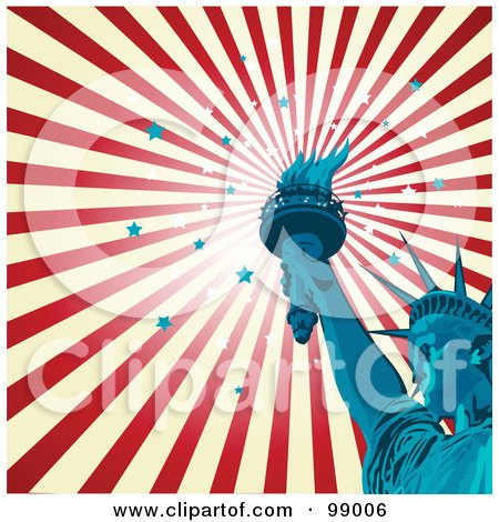 Royalty-Free (RF) Clipart Illustration of a Statue Of Liberty Background With A Burst Of Stars And Stripes by Pushkin