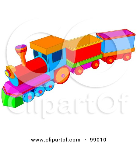 Royalty-Free (RF) Clipart Illustration of a Child's Colorful Toy Train With Carts by Pushkin