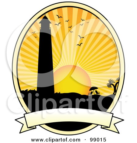Royalty-Free (RF) Clipart Illustration of a Silhouetted Lighthouse Over A Blank Banner by mheld