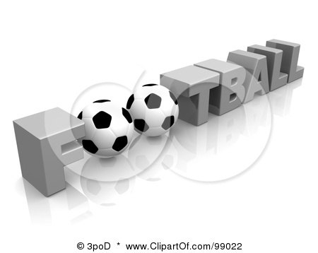 Royalty-Free (RF) Clipart Illustration of 3d Golf Balls As The O In The World FOOTBALL by 3poD