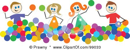 Royalty-Free (RF) Clipart Illustration of Stick Children Playing With Balls by Prawny