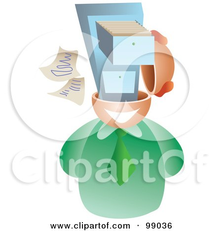 Royalty-Free (RF) Clipart Illustration of a Businessman With A File Brain by Prawny