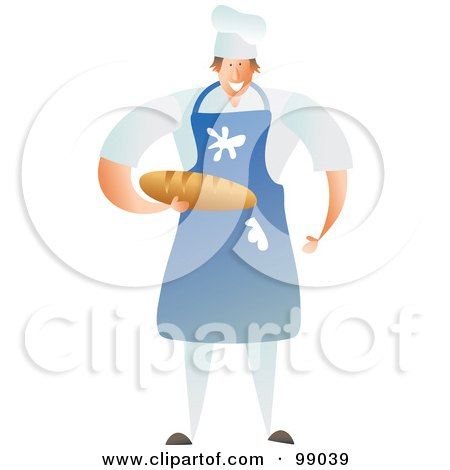 Royalty-Free (RF) Clipart Illustration of a Male Baker Wearing A Messy Blue Apron And Holding Bread by Prawny