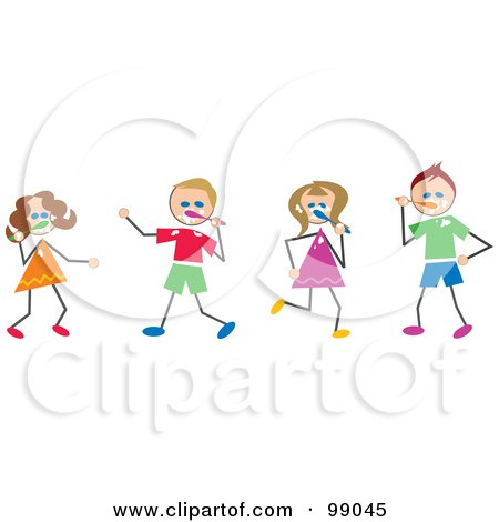 Royalty-Free (RF) Clipart Illustration of Stick Children Brushing Their Teeth by Prawny