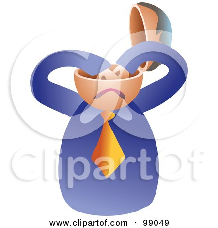 Royalty-Free (RF) Clipart Illustration of a Businessman With An Empty Brain by Prawny
