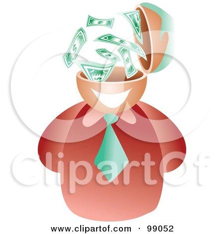 Royalty-Free (RF) Clipart Illustration of a Businessman With A Dollar Brain by Prawny