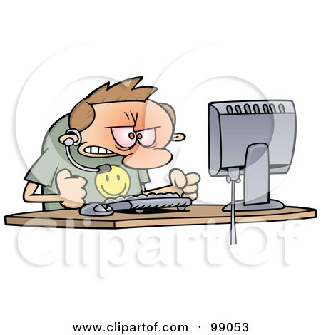 Royalty-Free (RF) Clipart Illustration of an Angry Computer Support Worker Banging His Fists On His Desk by gnurf