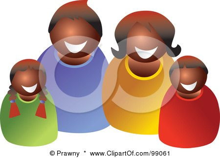 Royalty-Free (RF) Clipart Illustration of a Happy Black Family Smiling by Prawny