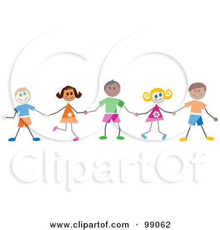 Royalty-Free (RF) Clipart Illustration of Stick Children Smiling And Holding Hands by Prawny