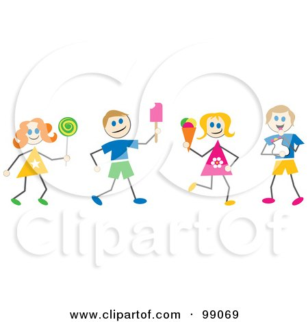 Royalty-Free (RF) Clipart Illustration of Stick Children With Ice Cream And Candy by Prawny