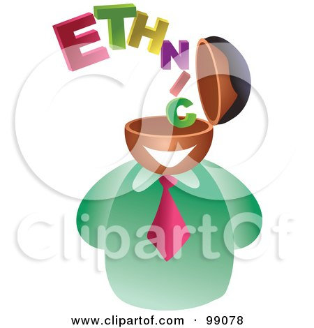 Royalty-Free (RF) Clipart Illustration of a Businessman With An Ethnic Brain by Prawny