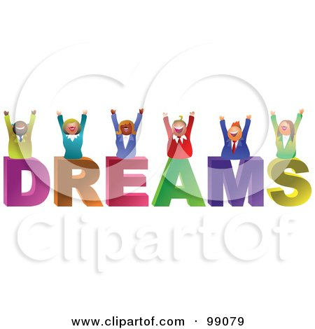 Royalty-Free (RF) Clipart Illustration of a Business Team Celebrating Over DREAMS by Prawny