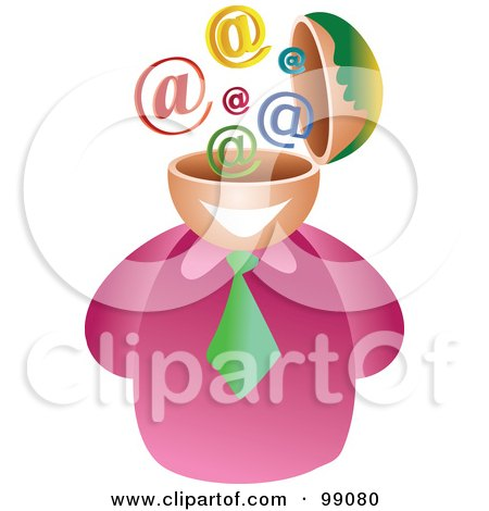 Royalty-Free (RF) Clipart Illustration of a Businessman With An Email Brain by Prawny