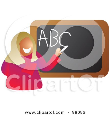 Royalty-Free (RF) Clipart Illustration of a Happy Blond Tacher Writing ABC On A Black Board by Prawny