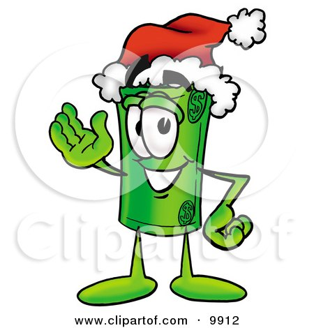 Clipart Picture of a Rolled Money Mascot Cartoon Character Wearing a Santa Hat and Waving by Toons4Biz