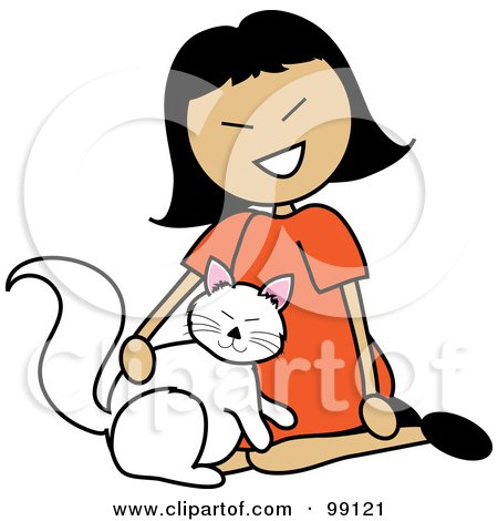 Royalty-Free (RF) Clipart Illustration of an Asian Stick Girl Petting A Cat by Pams Clipart