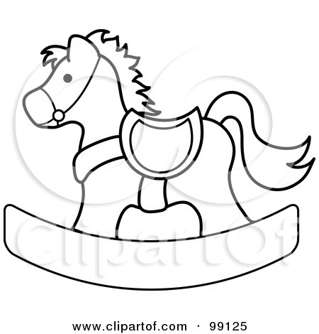 Horse Coloring Sheets on Of An Outlined Children S Nursery Rocking Horse By Pams Clipart  99125