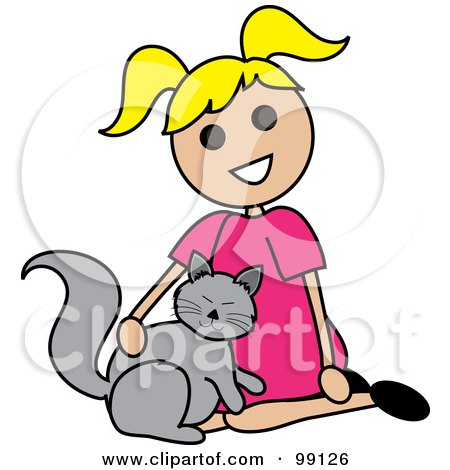 Royalty-Free (RF) Clipart Illustration of a Blond Stick Girl Petting A Cat by Pams Clipart