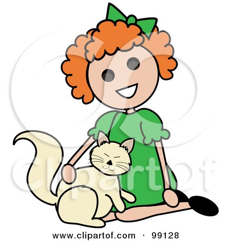 Royalty-Free (RF) Clipart Illustration of a Red Haired Stick Girl Petting A Cat by Pams Clipart