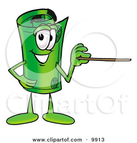 Clipart Picture of a Rolled Money Mascot Cartoon Character Holding a Pointer Stick by Toons4Biz