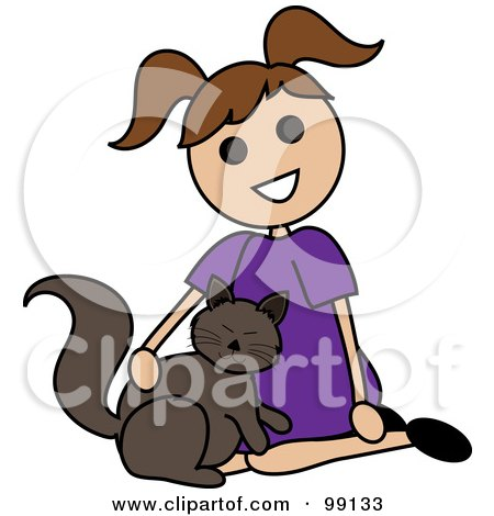 Royalty-Free (RF) Clipart Illustration of a Brunette Stick Girl Petting A Cat by Pams Clipart