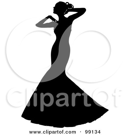 Royalty-Free (RF) Clipart Illustration of a Graceful Silhouetted Bride Posing In Her White Wedding Gown by Pams Clipart