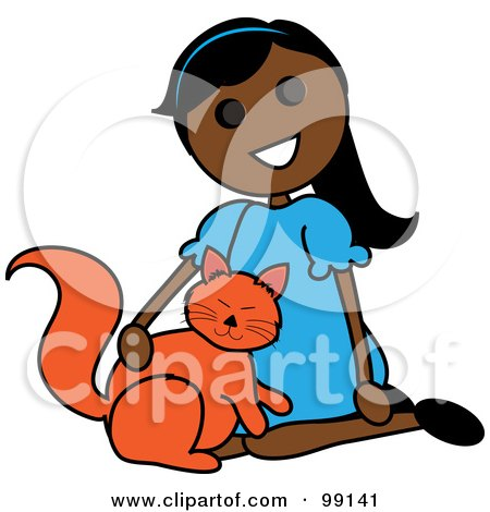 Royalty-Free (RF) Clipart Illustration of an Indian Stick Girl Petting A Cat by Pams Clipart