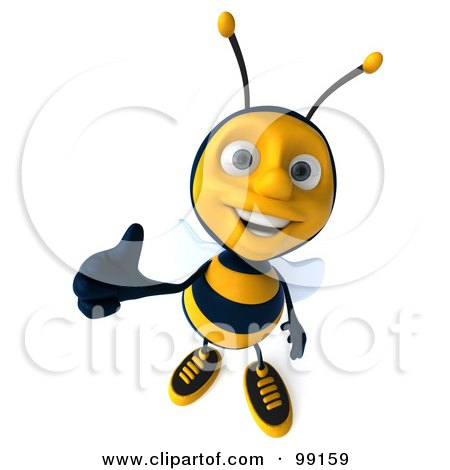 Royalty-Free (RF) Clipart Illustration of a 3d Bee Character Holding A Thumb Up And Smiling by Julos