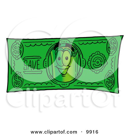 Clipart Picture of a Rolled Money Mascot Cartoon Character on a Dollar Bill by Toons4Biz