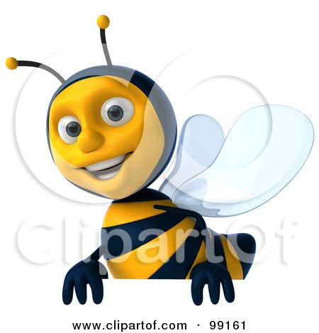 Royalty-Free (RF) Clipart Illustration of a 3d Bee Character Smiling And Carrying A Blank Sign by Julos
